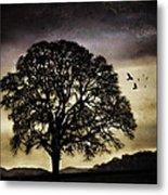 Winter Tree And Ravens Metal Print