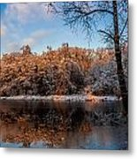 Winter Trees Lake Reflected Metal Print