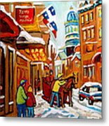 Winter Walk Montreal Metal Print