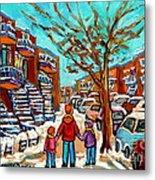 Winter Walk Montreal Paintings Snowy Day In Verdun Montreal Art Carole Spandau Metal Print