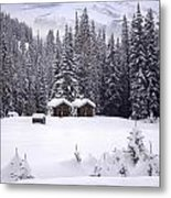 Forest Snow Blanketed Privies - Winter In Banff, Alberta Metal Print