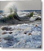 Winter Waves At Whitefish Dunes Metal Print