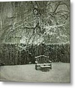 Winter Willow And Snow Covered Seat Metal Print
