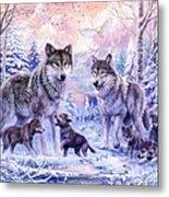 Winter Wolf Family  Metal Print