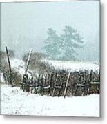 Winter Wonderland - Amazing Winter Landscape With Snow Falling Metal Print