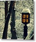 Wintered Lantern Metal Print