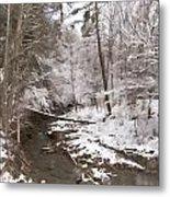 Winter's Country Stream Metal Print