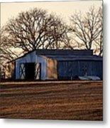 Winter's Cow Barn Metal Print