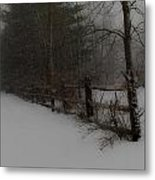 Winter's Fence Metal Print