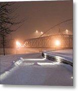 Winter's Night Stroll Metal Print