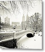 Winter's Touch - Bow Bridge - Central Park - New York City Metal Print
