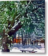 Wintry  Snowy Trees Metal Print