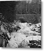 Wintry Waterfall Metal Print