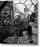 Wire Man In Sphere Metal Print
