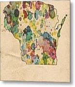Wisconsin Map Vintage Watercolor Metal Print