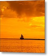 Wisconsin Point Lighthouse Sunrise 1 A Metal Print