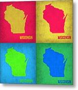 Wisconsin Pop Art Map 1 Metal Print
