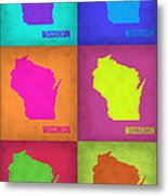 Wisconsin Pop Art Map 2 Metal Print