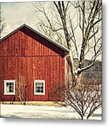 Wise Old Barn Winter Time Metal Print