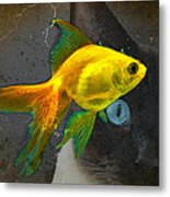 Wishful Thinking - Cat And Fish Art By Sharon Cummings Metal Print