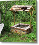 Wishing Well And Cat Metal Print