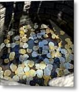 Wishing Well With Coins Perspective Metal Print