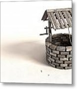 Wishing Well With Wooden Bucket And Rope Metal Print