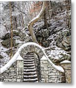 Wissahickon Steps In The Snow Metal Print