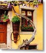 Wisteria And Yellow Wall In Alsace France Metal Print