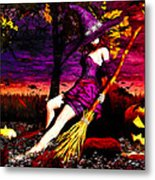 Witch In The Pumpkin Patch Metal Print