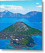 Wizard Island From Watchman Overlook In Crater Lake National Park-oregon  Metal Print