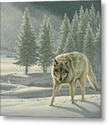 Wolf In Fog    Metal Print