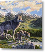 Wolf Painting - Passing It On Metal Print by Crista Forest