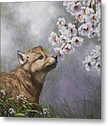 Wolf Pup - Baby Blossoms Metal Print by Crista Forest
