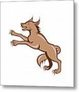 Wolf Wild Dog On Hind Legs Cartoon Metal Print