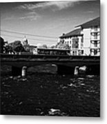wolfe tone bridge and jurys hotel next to the quays on the corrib river Galway city county Galway Republic of Ireland Metal Print