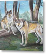 Wolves In The Forest Metal Print