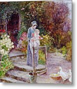 Woman And Child In A Cottage Garden Metal Print