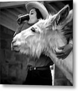 Woman And Donkey Black And White Metal Print
