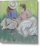 Woman And Girl On The Grass Metal Print
