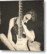 Woman And Guitar Metal Print