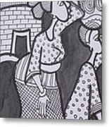 Woman And Her Son Are Coming From Farm Metal Print
