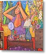 Woman At Dressing Table Metal Print by Chaline Ouellet