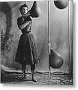 Woman Boxing Workout Metal Print by Underwood Archives