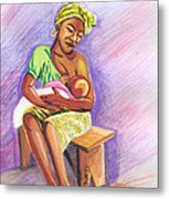 Woman Breastfeeding Bay In Rwanda Metal Print