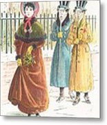 Woman Carrying Bunch Of Mistletoe Metal Print