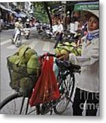Woman Carrying Fruit On Bike Metal Print