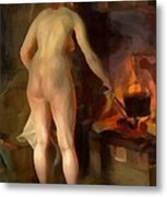 Woman Cooking Over An Open Fire Metal Print