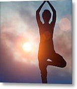 Woman Doing Yoga Tree Pose Metal Print
