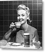 Woman Drinking Nescafe Metal Print by Underwood Archives
